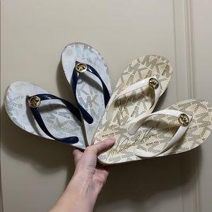 2 sets of Michael Kors Flip Flops